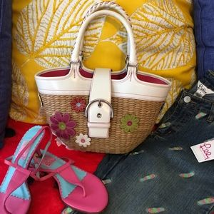 Coach Lily Hand woven Straw Flower Tote Bag